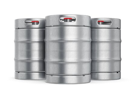Group of aluminum beer kegs with red lid isolated on white background. 3D illustration
