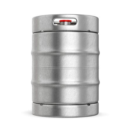 Aluminium beer keg with red lid isolated on white background. 3D illustration Reklamní fotografie