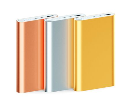 Portable external rechargeable mobile device battery chargers. Group of colorful metallic USB power banks for smartphones and tablet computers charging isolated on white background. 3D illustration