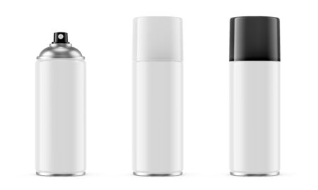 Spray paint metal can with white and black removable plastic cap isolated on white background. 3D illustration