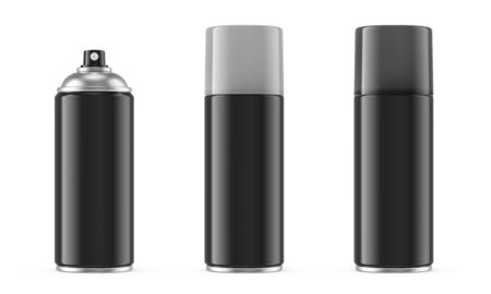 Black spray paint metal can with gray removable plastic cap isolated on white background. 3D illustration