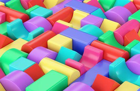 Colorful plastic toy building blocks background. 3D illustration Stok Fotoğraf