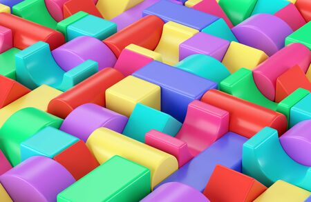 Colorful plastic toy building blocks background. 3D illustration Stock Photo