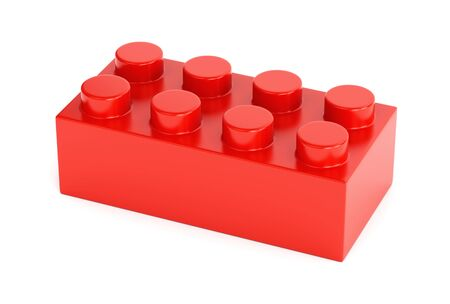 Toy building block. Red plastic brick shaped element isolated on white background. 3D illustration Stok Fotoğraf