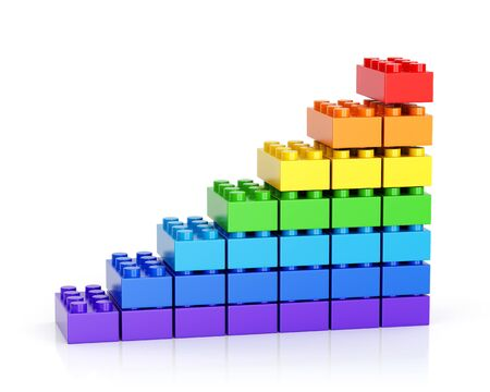 Growth graph diagram made of colorful toy building blocks isolated on white background. 3D illustration 写真素材