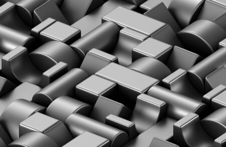 Black plastic toy building blocks background. 3D illustration