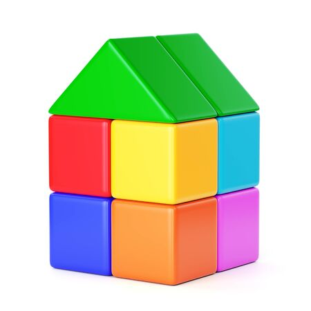 Small house made of colorful plastic toy building blocks isolated on white background. 3D illustration