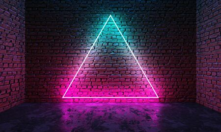 Triangle shaped glowing neon frame on brick wall in dark room. Blue to purple or pink gradient color glow. Sci-fi and cyberpunk concept. 3D illustration.