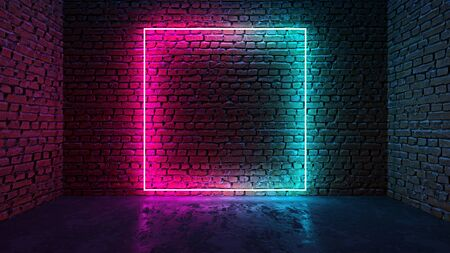 Square shaped glowing neon frame on brick wall in dark room. Blue to purple or pink gradient color glow. Sci-fi and cyberpunk concept. 3D illustration. Stock fotó