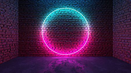 Circle shaped glowing neon frame on brick wall in dark room. Blue to purple or pink gradient color glow. Sci-fi, cyberpunk and disco concept. 3D illustration. Stock fotó