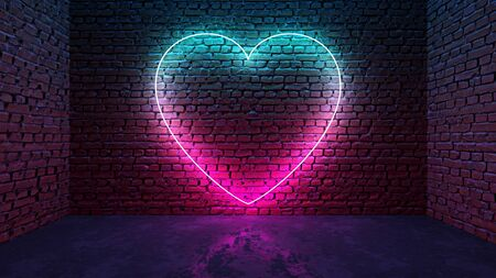 Glowing neon heart shaped like icon on brick wall in dark room. Blue to purple or pink gradient color glow. Social media network concept. 3D illustration. Stock Photo
