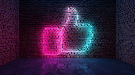 Glowing neon thumb up or like on brick wall in dark room. Blue to purple or pink gradient color glow. Social media network concept. 3D illustration.