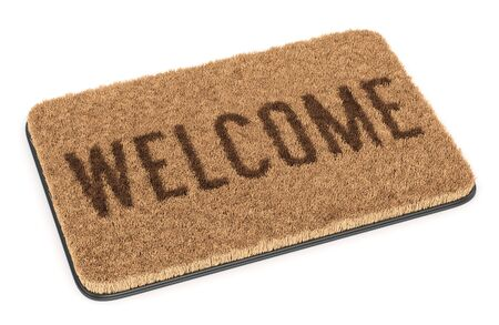 Brown coir doormat with text Welcome isolated on white background. 3D illustration 写真素材