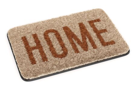 Brown coir doormat with text Home isolated on white background. 3D illustration 写真素材