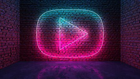 Glowing neon heart shaped like icon on brick wall in dark room. Blue to purple or pink gradient color glow. Social media network concept. 3D illustration. 写真素材