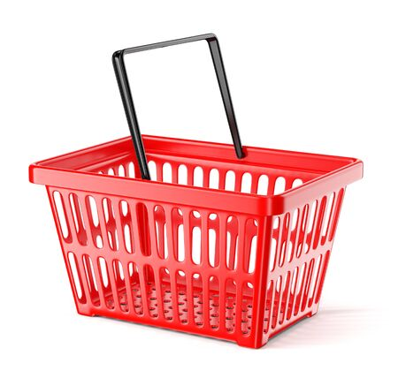 Red plastic supermarket basket with single handle isolated on white background. Shopping and commerce concept. 3D illustration