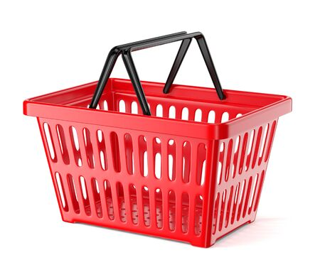 Red plastic supermarket basket with two handles isolated on white background. Shopping and commerce concept. 3D illustration