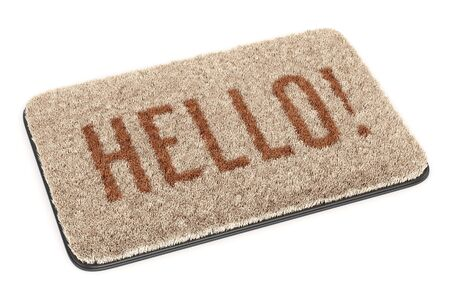 Brown coir doormat with text HELLO isolated on white background. 3D illustration Stock fotó