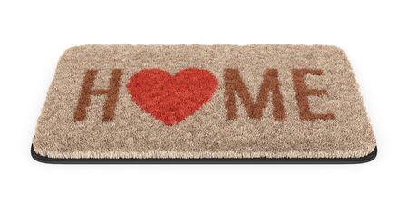 Brown-Kokos-Fußmatte mit Text Home andheart Symbol isoliert auf weißem Hintergrund. 3D-Darstellung Standard-Bild