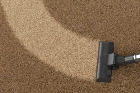Vacuum cleaner brush on dirty carpet with clean strip. Vacuuming, cleaning and housework concept. 3D illustration