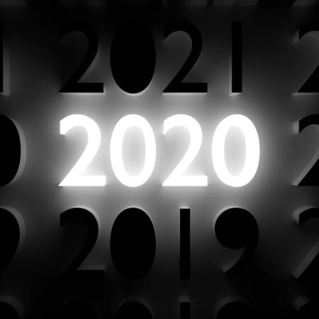 2020 New Year and Merry Christmas concept. Luminous and dark number symbols on wall. 3D illustration