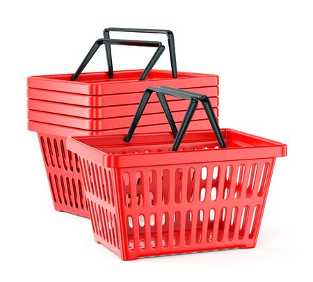 Group of red plastic supermarket baskets with two handles isolated on white background. Shopping and commerce concept. 3D illustration