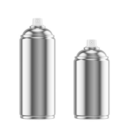 Metallic spray paint metal cans isolated on white background. 3D illustration