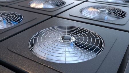 Close up image of HVAC system units with fans. Heating, ventilation and air conditioning concept. 3D illustration