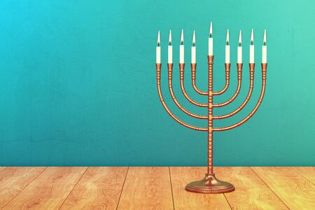 Hanukkah menorah with burning candles on wood table. Traditional jewish holiday celebration greeting card concept. 3D illustration 写真素材