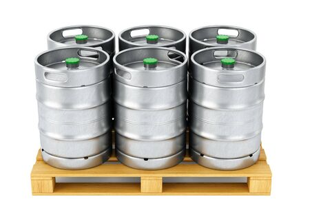 Group of aluminum beer kegs on wood pallet isolated on white background. 3D illustration 写真素材