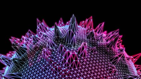 Abstract futuristic illustration of spherical polygonal surface. Low poly shape with connecting dots and lines on dark background. 3D rendering 写真素材