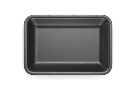 Black glossy foam plastic food tray isolated on white background. Top view. 3D illustration
