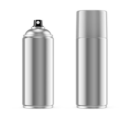 Spray paint metal can with gray metallic removable plastic cap isolated on white background. 3D illustration 写真素材