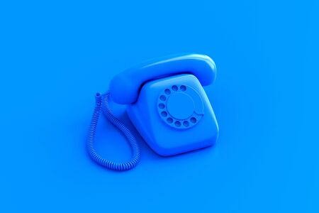 Blue retro rotary dial telephone on color background. 3D illustration