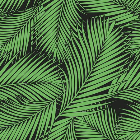 Green tropical palm leaves texture on dark backdrop. Seamless vector background. Botanical illustration