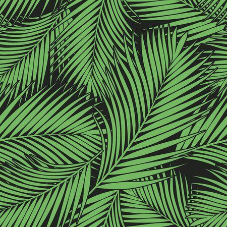 Textura de hojas de palmera tropical verde sobre fondo oscuro. Fondo de vector transparente. Ilustración botánica