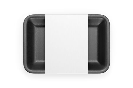 Black glossy foam plastic food tray with blank label isolated on white background. Top view. 3D illustration