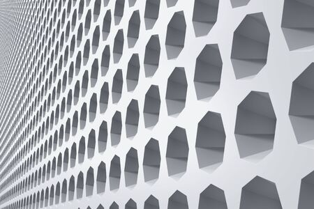 Industrial building exterior front wall decorated with hexagonal niches. Abstract architecture background. 3D illustration 写真素材