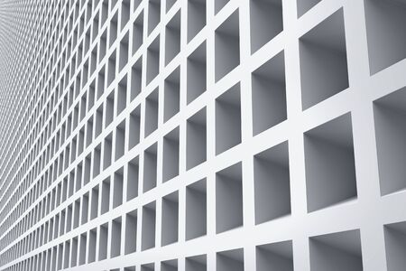 Industrial building exterior front wall decorated with rectangle niches. Abstract architecture background. 3D illustration