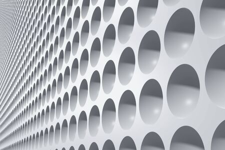 Industrial building exterior front wall decorated with round niches. Abstract architecture background. 3D illustration 写真素材