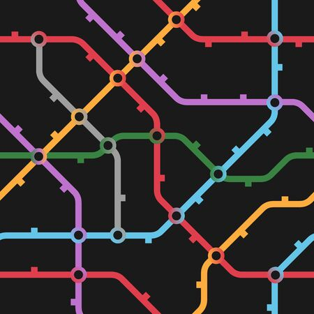 Colorful metro scheme, railway transport or city bus map on black background. Abstract seamless vector pattern