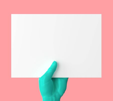 Green hand holding white blank paper card on red backgroud. 3D illustration