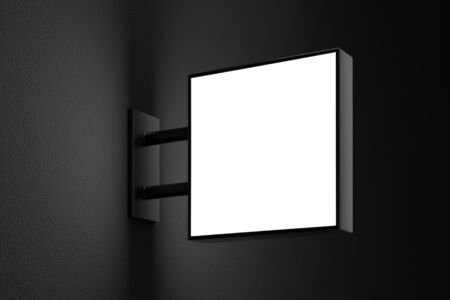 Blank square light box sign mockup with copy space on dark wall. 3D illustration 写真素材