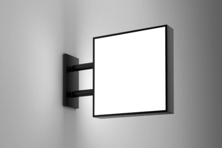 Blank square light box sign mockup with copy space on white wall. 3D illustration