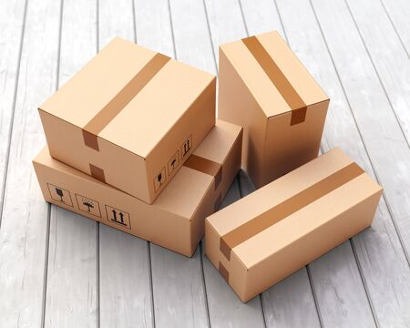 Group of three cardboard boxes on porch floor in front of entrance door. Doorstep parcel delivery, free shipping, and online shopping concept. 3D illustration 写真素材