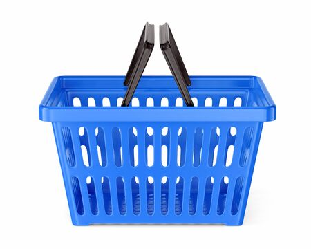 Blue plastic supermarket basket with two handles isolated on white background. Shopping and commerce concept. 3D illustration