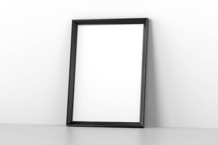 Blank wooden picture frame leaning on white wall. 3D illustration 写真素材
