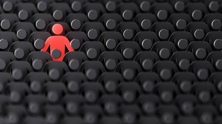 Unique color red human shape among dark ones. Leadership, individuality and standing out of crowd concept. 3D illustration