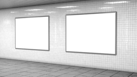 Blank billboard lightboxes or LCD screens on white tiles wall. Empty street advertising signboards in room. 3D illustration