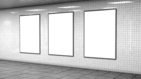 Three blank billboard lightboxes or LCD screens on white tiles wall. Empty street advertising signboards in room. 3D illustration 写真素材